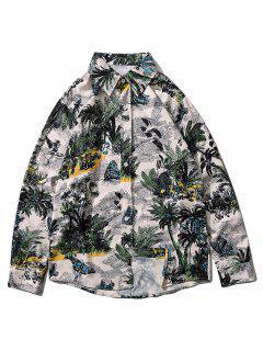 Palm Tree Butterfly Print Lounge Long Sleeve Shirt - Multi-i Xl