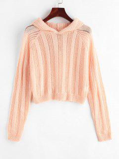 Pointelle Knit Hooded Raglan Sleeve Sweater - Light Pink S