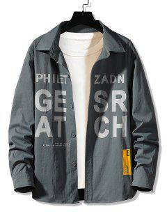 Letter Graphic Print Long Sleeve Shirt - Dark Gray L