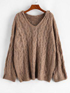 Cable Knit Hooded Drop Shoulder Sweater - Dark Goldenrod S