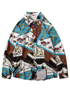 Floral Chain Pattern Block Casual Long Sleeve Shirt - Multi-a 2xl