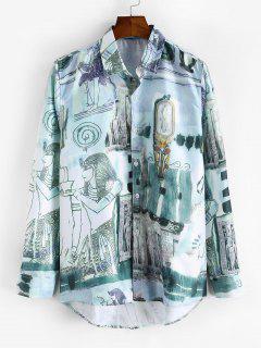 Ancient Egyptian Print High Low Shirt - Multi-a Xs