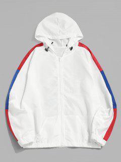 Cartoon Dinosaur Colorblock Raglan Sleeve Hooded Jacket - White M
