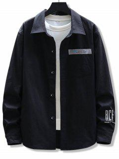 Letter Print Chest Pocket Long Sleeve Shirt - Black 3xl