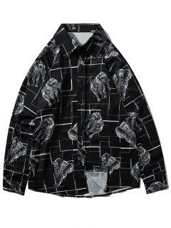 Map Elephant Geometric Print Long Sleeve Shirt - Black Xl
