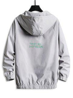 Lettering Back Hooded Windbreaker Jacket - Platinum Xl