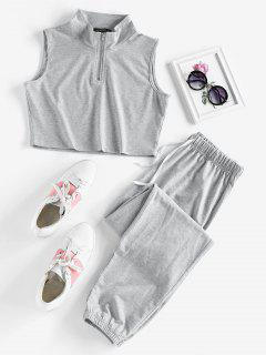 ZAFULハーフジップ半袖巾着スポーツパンツセット - ライトグレー L