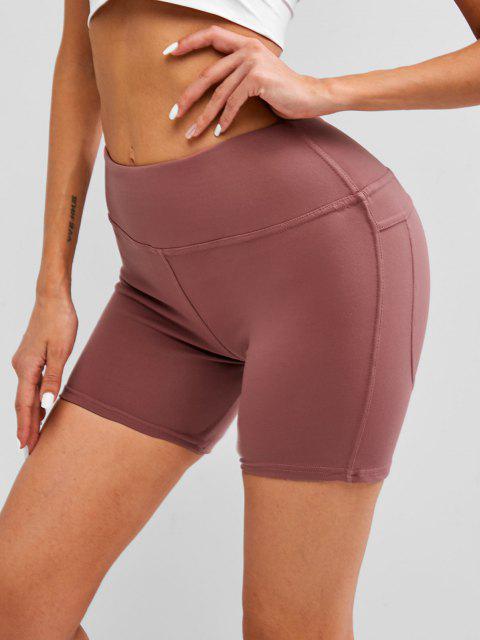 fancy Wide Waistband Topstitch Peach Buttock Biker Shorts - RED S Mobile