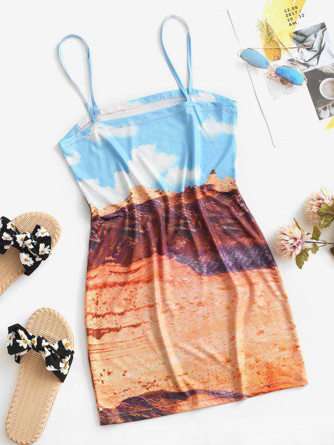 Desert Printed Cactus Cami Dress - اصفر غامق S Mobile