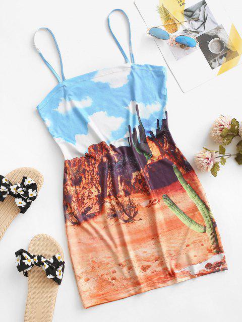 women Desert Printed Cactus Cami Dress - DEEP YELLOW M Mobile