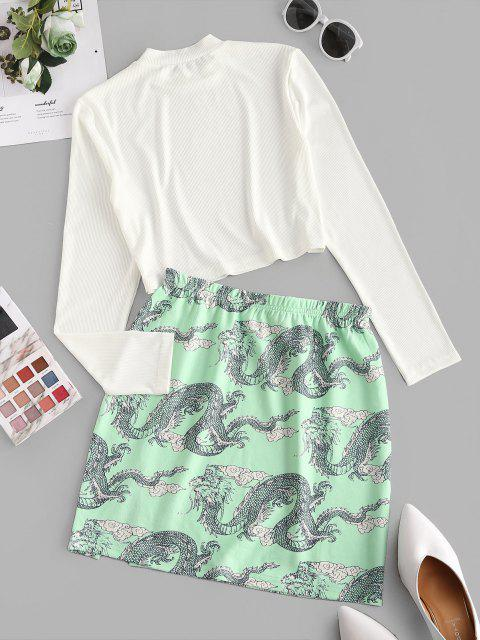 best Chinoiserie Ribbed Dragon Print Two Piece Dress - LIGHT GREEN L Mobile