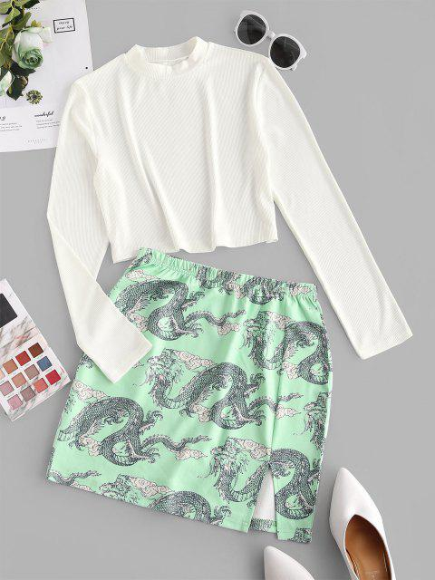 new Chinoiserie Ribbed Dragon Print Two Piece Dress - LIGHT GREEN M Mobile