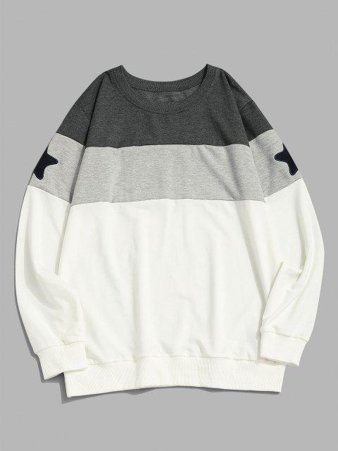 latest Star Pattern Colorblock Crew Neck Sweatshirt - WHITE XL Mobile