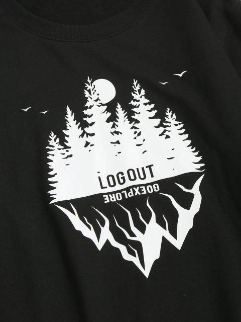 Sweat-shirt Décontracté Paysage Graphique à Col Rond - Noir 2XL Mobile
