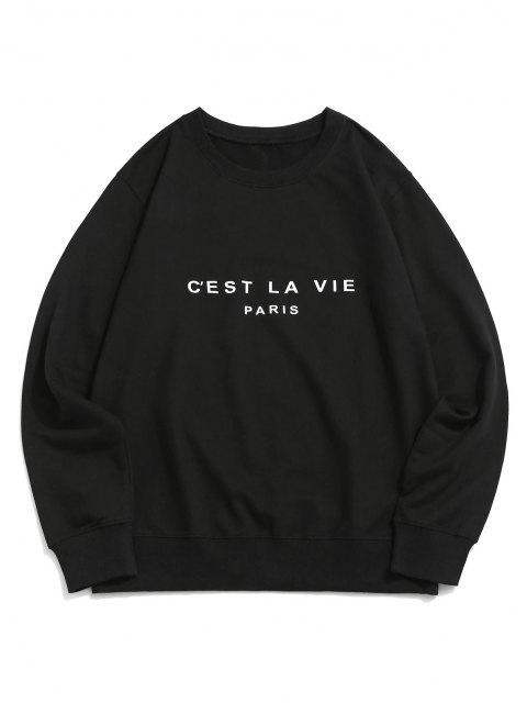 shops French Quote Print Crew Neck Casual Sweatshirt - BLACK XS Mobile