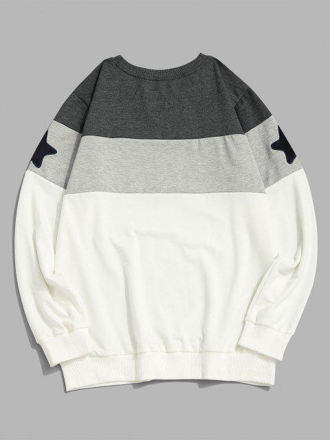 lady Star Pattern Colorblock Crew Neck Sweatshirt - WHITE L Mobile