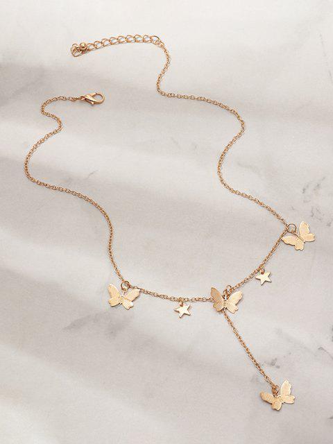 Collana Pendente a Stella e Farfalla Vintage - d'oro  Mobile