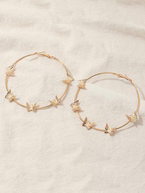 women's Metal Butterfly Shape Hoop Earrings - GOLDEN  Mobile