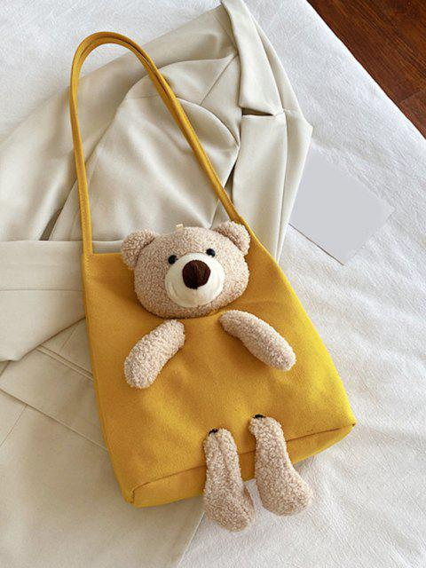 shops Cute Bear Canvas Shoulder Bag - YELLOW  Mobile