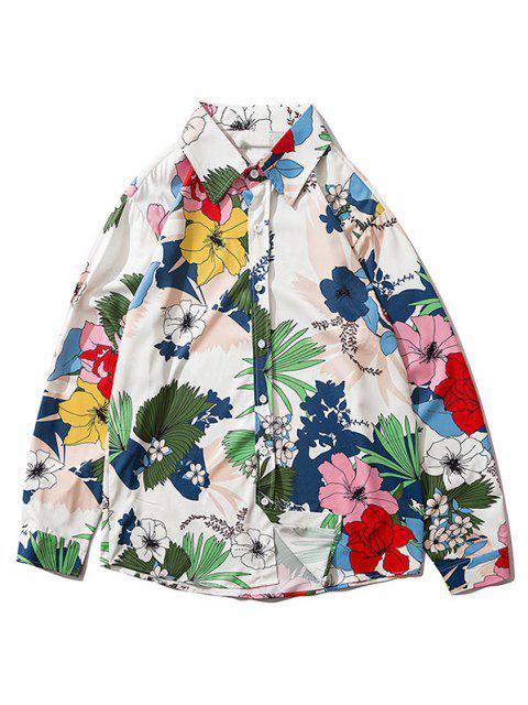 chic Flower Plant Leaf Long Sleeve Shirt - MULTI-B M Mobile