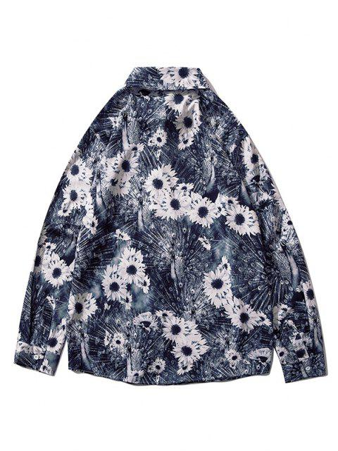 trendy Sunflower Peacock Print Button Up Shirt - MULTI-F L Mobile