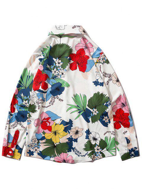 花植物の葉の長袖シャツ - マルチB XL Mobile