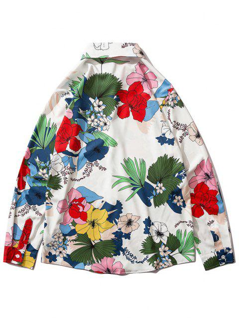 Flower Plant Leaf Long Sleeve Shirt - متعددة-B L Mobile