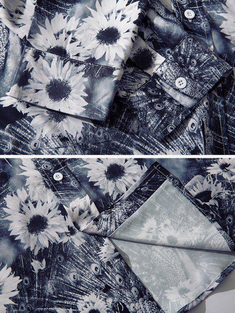 Sonnenblume Pfau Druck Knopf Hemd - Multi-F XL Mobile