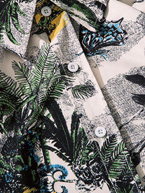 best Palm Tree Butterfly Print Lounge Long Sleeve Shirt - MULTI-I 2XL Mobile