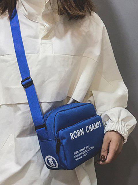 fashion Letter Print Small Canvas Crossbody Bag - BLUE  Mobile