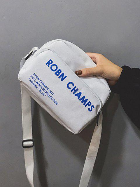 Bolsa Lateral Com Abas Costurada Em Lona E Couro Sintético - Branco  Mobile