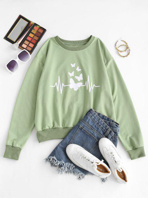 Crew Neck Butterfly Print Pullover Sweatshirt - اخضر فاتح L Mobile