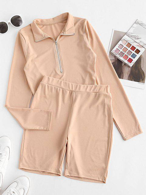 trendy Two Piece Half Zip Cropped Biker Shorts Set - LIGHT COFFEE L Mobile