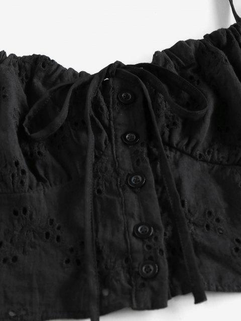 best ZAFUL Eyelet Bowknot Cupped Mini Skirt Set - BLACK XL Mobile
