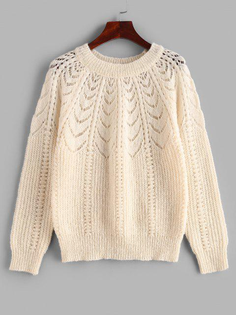 Raglanärmel Pointelle Knit Einfarbiger Sweatshirt - Licht Kaffee Eine Größe Mobile
