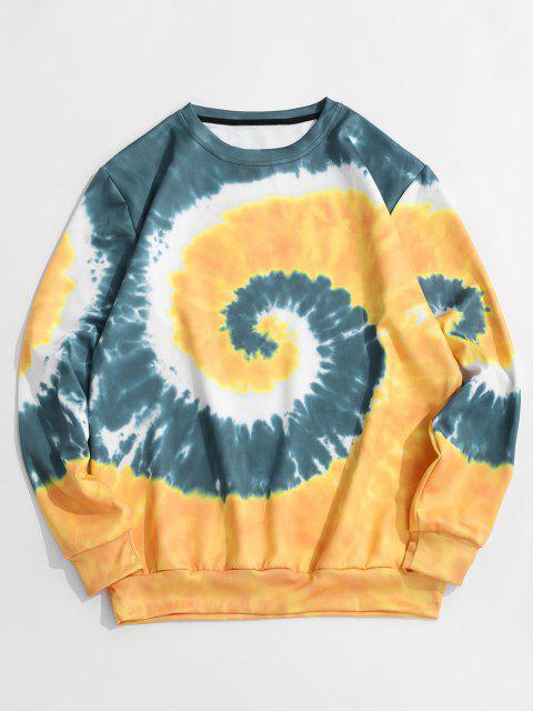 shop Spiral Tie Dye Print Pullover Sweatshirt - GOLDENROD 2XL Mobile