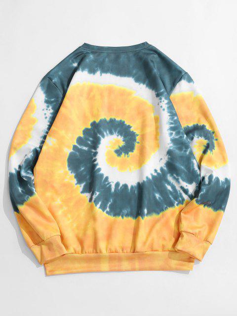 women Spiral Tie Dye Print Pullover Sweatshirt - GOLDENROD L Mobile