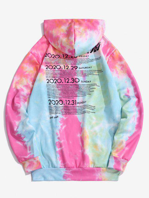 shop Tie Dye Letter Print Kangaroo Pocket Graphic Hoodie - SILK BLUE XS Mobile