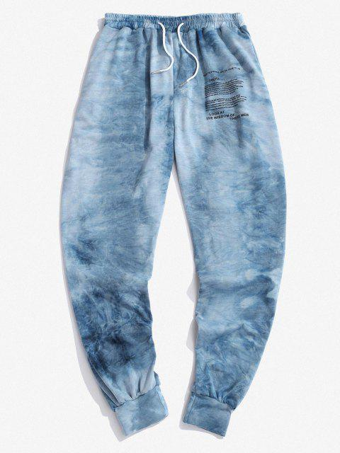 outfits Tie Dye Letter Graphic Print Sports Pants - DEEP BLUE 2XL Mobile