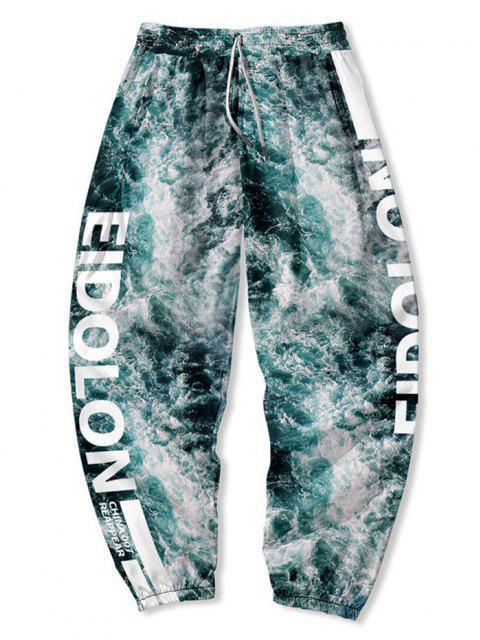 shop Sea Water Letter Print Beam Feet Pants - MULTI-A 4XL Mobile