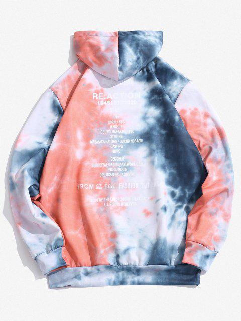 new Kangaroo Pocket Tie Dye Letter Print Hoodie - SLATE BLUE XL Mobile