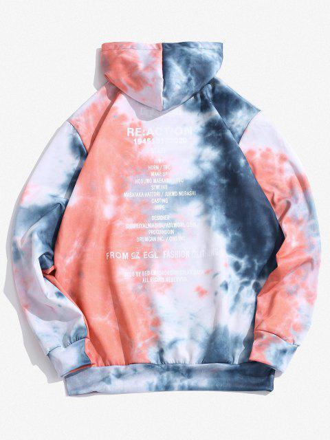 affordable Kangaroo Pocket Tie Dye Letter Print Hoodie - SLATE BLUE XS Mobile