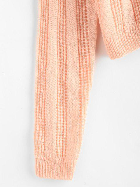 Pointelle Strick Kapuze Raglan Ärmel Pullover - Hell-Pink L Mobile