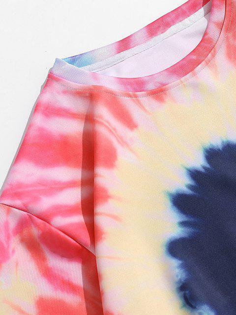Buntes Krawattenfärbender Druck Sweatshirt - Rosa M Mobile