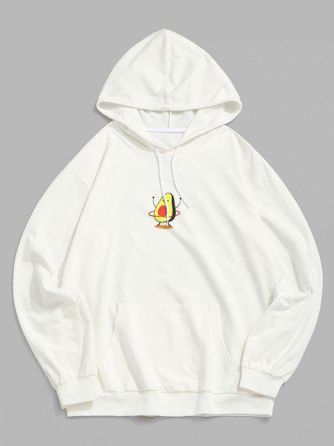 ZAFUL Cartoon Avocadodruck Hoodie - Weiß 2XL Mobile