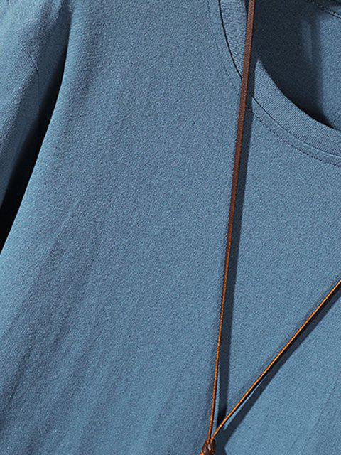 shops Letter Print Stitching Long Sleeve T-shirt - MIST BLUE XS Mobile