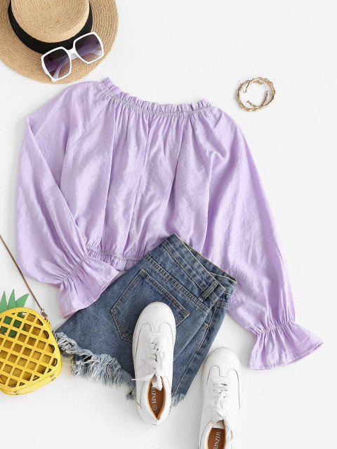 womens Cinched Frilled Poet Sleeve Blouse - LIGHT PURPLE L Mobile