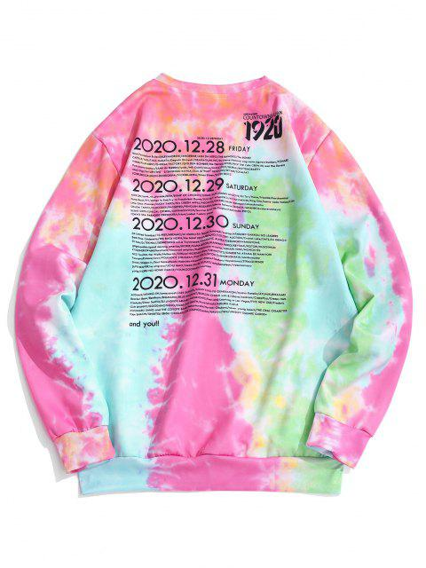 shops Tie Dye Letter Print Graphic Sweatshirt - HOT PINK XS Mobile