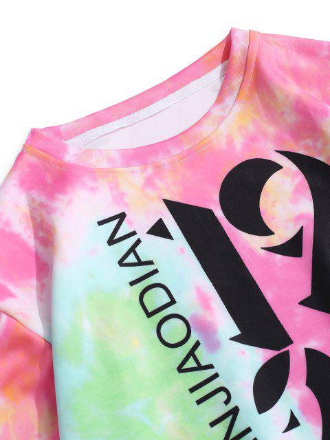 fancy Tie Dye Letter Print Graphic Sweatshirt - HOT PINK 2XL Mobile