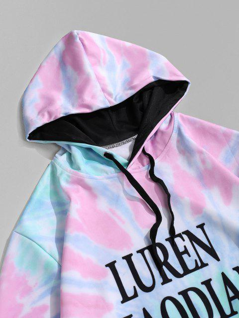 latest Kangaroo Pocket Tie Dye Letter Print Pullover Hoodie - BLUE GRAY XS Mobile